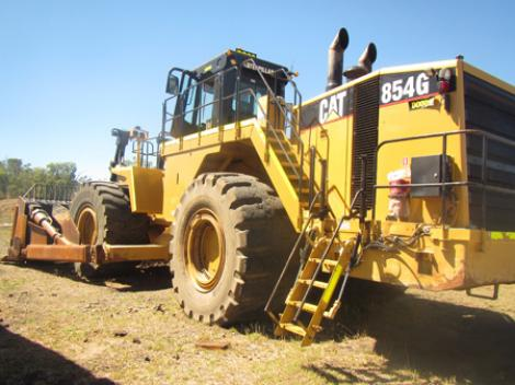 CAT 854G Wheel Dozer Outdoors Parked Rear View