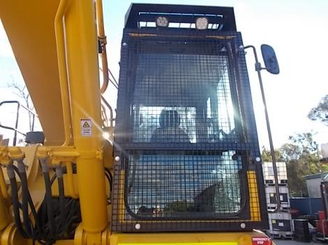 Komatsu PC450-8 Excavator closeup of window